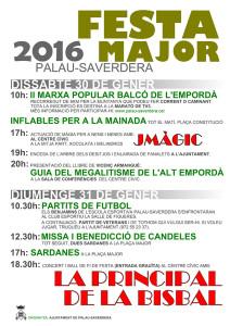 Programa d'actes de la Festa major de la candelera de Palau-saverdera. 30 i 31 d egener de 2016